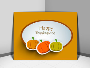 Happy Thanksgiving Day Concept With Pumpkins