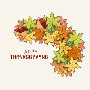 Happy Thanksgiving Day Concept With Stylish Autumn Leaves On Grey Background.