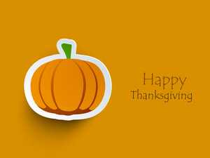 Happy Thanksgiving Day Concept With Stylish Pumpkin Sticker