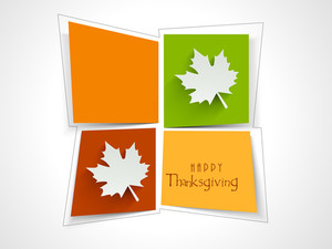 Happy Thanksgiving Day Stickers In Various Colours With Sutumn Leaves On Blue Background.