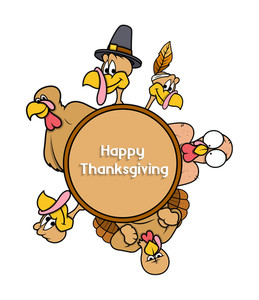 Happy Thanksgiving Day Turkey Banner Vector