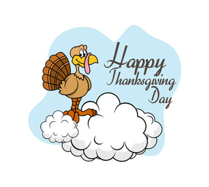 Happy Thanksgiving Day Turkey Banner