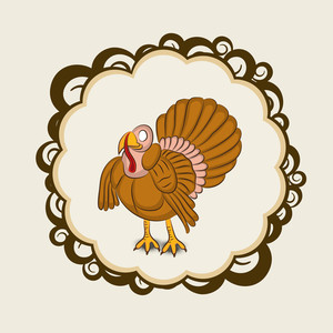 Happy Thanksgiving Day With Beautiful Turkey Bird In Floral Decorated Frame On Abstract Background.