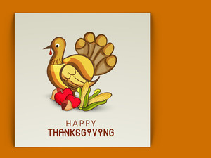 Happy Thanksgiving Day With Beautiful Turkey Bird