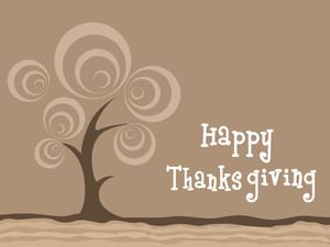 Happy Thanksgiving On Brown Background With Tree