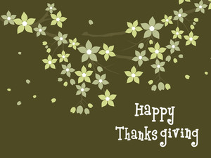 Happy Thanksgiving Text On Green Floral Background