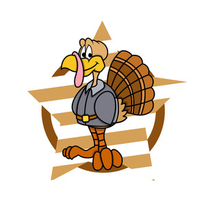 Happy Turkey Bird Character