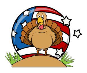 Happy Turkey Bird Vector Background