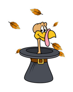 Happy Turkey In Hat Vector