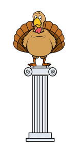 Happy Turkey On Stand Vector Character