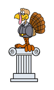 Happy Turkey Sitting On Stand Vector