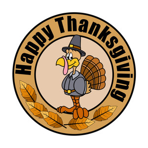 Happy Turkey Thanksgiving Day Graphic Banner