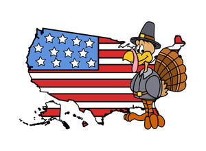 Happy Turkey With America Map