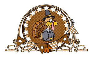 Happy Turkey With Retro Frame Design