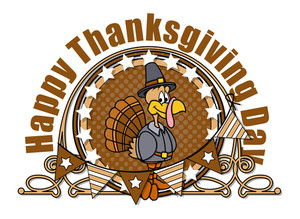 Happy Turkey With Retro Frame Vector