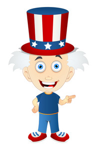 Happy Uncle Sam Cartoon Kid