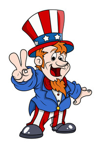 Happy Uncle Sam Victory Fingure Sign 4th Of July Vector Illustration