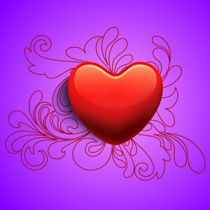 Happy Valentines Day Background With Glossy Red Heart
