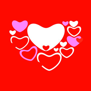 Happy Valentines Day Background With  Paper Hearts On Red Background