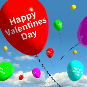 Happy Valentines Day Balloons In The Sky Showing Love And Affection