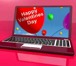 Happy Valentines Day Balloons On Laptop Show Love