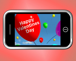 Happy Valentines Day Balloons On Mobile Show Love