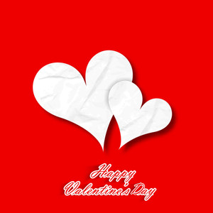 Happy Valentines Day Paper Hearts On Red Background