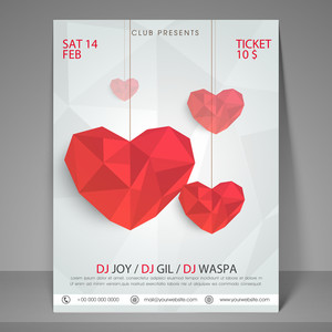 Happy Valentines Day party flyer banner or template with red abstract hearts.