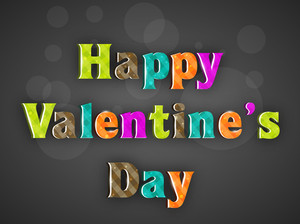 Happy Valentines Day Text On Grey Background