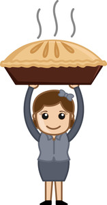 Happy Woman Prepared Apple Pie - Cartoon Business Vector Character