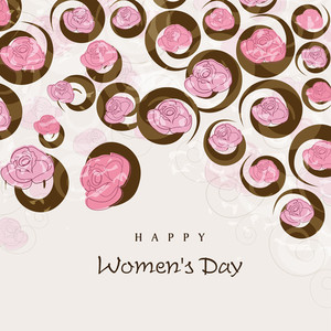 Happy Womens Day Greeting Card Or Poster Design  Decorated By Beautiful Flowers.