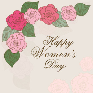 Happy Womens Day Greeting Card Or Poster Design Decorated By Colorful Flowers On Abstract Background.