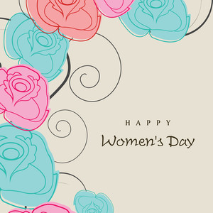 Happy Womens Day Greeting Card Or Poster Design Decorated By Colorful Flowers.