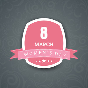 Happy Womens Day Greeting Card Or Poster Design With Badge On Grey Background.