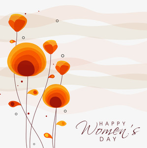 Happy Womens Day Greeting Card Or Poster Design With Beautiful Floral Decorated Background.