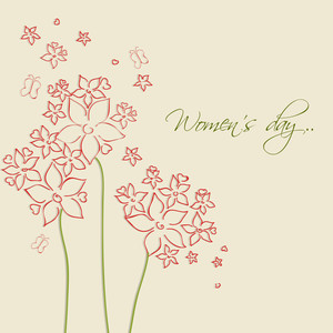 Happy Womens Day Greeting Card Or Poster Design With Beautiful Floral Design On Brown Background.