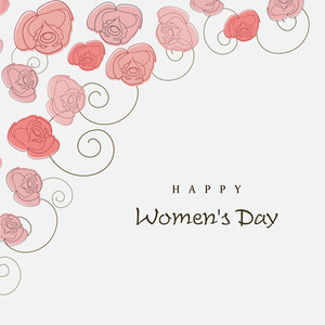 Happy Womens Day Greeting Card Or Poster Design With Beautiful Flowers On Grey Background.