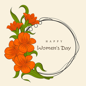Happy Womens Day Greeting Card Or Poster Design With Beautiful, Frame Decorated By Flowers.