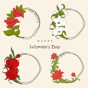Happy Womens Day Greeting Card Or Poster Design With Beautiful, Frames Decorated By Flowers.
