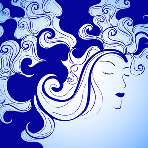 Happy Womens Day Greeting Card Or Poster Design With  Beautiful Girl Decorated By Blue Hairs On Blue Background.