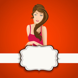 Happy Womens Day Greeting Card Or Poster Design With Beautiful Girl On Bright Red Background