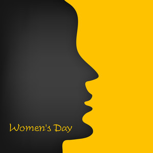 Happy Womens Day Greeting Card Or Poster Design With Black Silhouette A Girl Face On Bright Yellow Background.