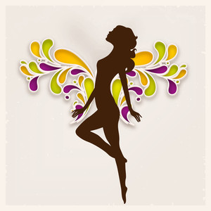 Happy Womens Day Greeting Card Or Poster Design With Brown Silhouette Of A Girl On Colorful Florals Decorated Brown Background.