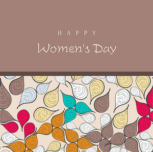 Happy Womens Day Greeting Card Or Poster Design With Colorfu, Leaves On Brown Background.