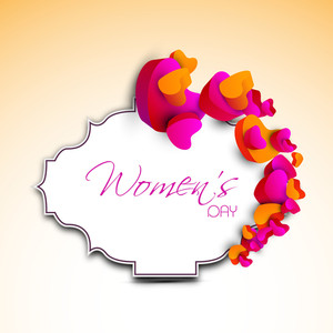 Happy Womens Day Greeting Card Or Poster Design With Colorful Glossy Heart Shapes And Space For Your Text.