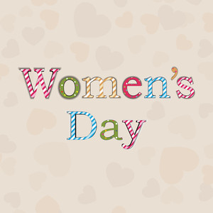 Happy Womens Day Greeting Card Or Poster Design With Colorful Text On Brown Background.