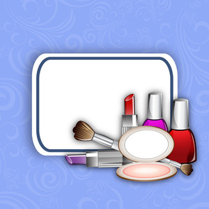 Happy Womens Day Greeting Card Or Poster Design With Cosmetics.