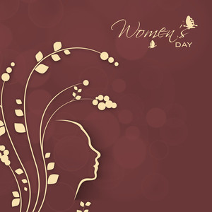 Happy Womens Day Greeting Card Or Poster Design With Floral Design On Bron Background.