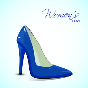 Happy Womens Day Greeting Card Or Poster Design With Glossy Blue Ladies Shoe On Blue Background.