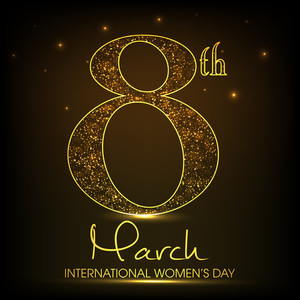 Happy Womens Day Greeting Card Or Poster Design With Golden Text 8th March On Brown Background.
